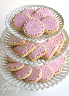 Elegant Pink Embossed and Brush Embroidery Cookies.
