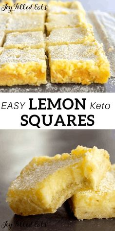 Keto Lemon Squares - Low Carb, Gluten-Free, Grain-Free, Sugar-Free, THM S - This easy Lemon Squares Recipe comes together in minutes. When you are craving a fresh and vibrant dessert my lemon bars will be a perfect fix. Dessert Simple, Keto Dessert Easy, Dessert Recipes, Low Carb Sweets, Low Carb Desserts, Low Carb Recipes, Healthy Lemon Desserts, Gluten Free Sweets, Lemon Curd Dessert