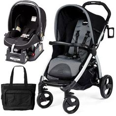 Peg Perego Book Stroller Travel System with a Diaper Bag – Nero Stone-Black Grey