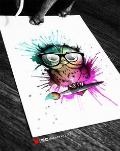 Фото тату Зарина Татушкина Lotusblume Tattoo, Book Tattoo, Body Art Tattoos, Owl Tattoo Design, Tattoo Designs, Baby Owl Tattoos, Owl Tattoo Chest, Watercolor Owl Tattoos, Colorful Owl Tattoo