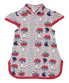 Loving this Shinobi Baby White & Red On the Sea Organic Dress - Infant & Toddler on #zulily! #zulilyfinds