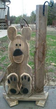 wooden bear plant hanger