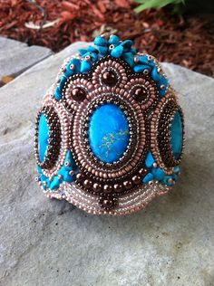 OOAK bead embroidered cuff-bead embroidery art-bronze, turquoise, brown- shell beads