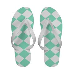 Mint Green and White Diamond Pattern flip flops