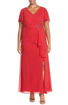 Marina Embellished Flutter Sleeve Gown with Front Slit (Plus Size)