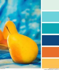 Beach House Color Palettes naranjas/amarillos y azules