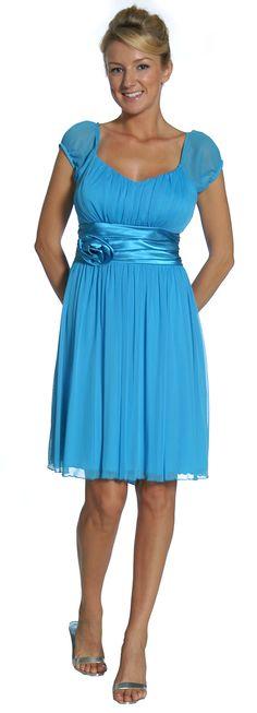 Short Turquoise Graduation Dress Cap Sleeves Junior Bridesmaid Dress