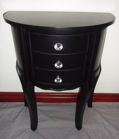 BLACK SHABBY CHIC FRENCH FURNITURE BEDSIDE CABINET TABLE With Crystal Knobs   eBay