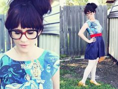 Star-Wars-Vintage-Dress. Remember character sheets? How awesome would it be to find a way to wear them that didn't look completely awful? Etsy seller Rusty Cuts has been doing just this with Star Wars sheets, and the results? Super wearable. Impressive. Most impressive. Worth mentioning: she does custom orders. (At Fashionably Geek)