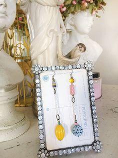 bustlerepurposed beaded dangle earrings shabby jewelry by Arey
