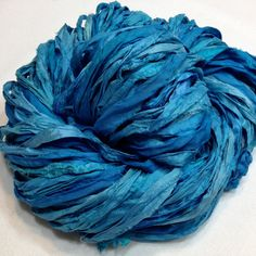 Sari Silk Ribbon Yarn, Hand Dyed, Reclaimed, Recycled, Repurposed, blue, turquoise, 10062 on Etsy, $14.00 by wintryflowerbydesign