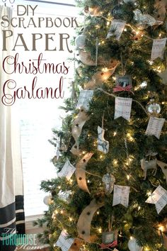 Festive and cheap way to fill a large Christmas tree!! DIY Scrapbook Paper Christmas Garland | TheTurquoiseHome.com