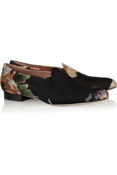 Acne|Noa floral-print canvas loafers|NET-A-PORTER.COM