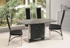 Agreeable Black marble dining table sets & Lorenzo Contemporary Black Marble Dining Table + 4 Chairs | marble ...