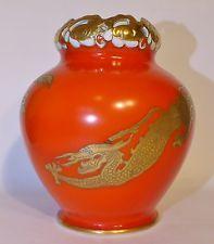 ART DECO Porzellan-Vase BAENSCH LETTIN mit Drachen rot gold (V7K)