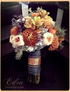 Fall wedding flowers, blue and orange bridal bouquet, something different for fall by Carrie Burgess Eden floral design studio, Nova Scotia, Canada