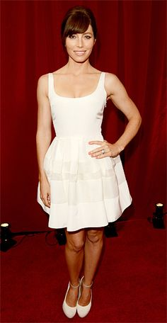 2012 ESPY Awards:Jessica Biel in a white Christian Dior dress and Nicholas Kirkwood for Roksanda Ilincic pumps.
