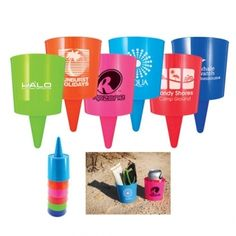 """Beach Nik      Cup with cone shape to hold drinks, media devices, glasses and more. Simply push into ground, sand or soft surface. Actual size is 3-1/2""""h x 3-3/4""""d."""