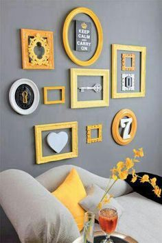 Bildergebnis für yellow dark grey bedroom wall ideas