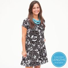 Ladies Custom Print Black White Peony Willa Dress