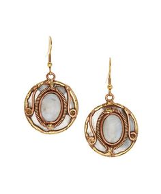 Another great find on #zulily! Rainbow Moonstone & Tri-Tone Halo Earrings by Anju #zulilyfinds