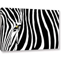 Dan Holm Zebra Stripes Gallery-Wrapped Canvas, Size: 24 x 36, White