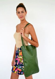Green leather tote bag / Handmade leather bag by AnaKoutsi on Etsy