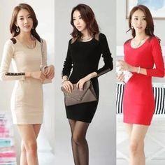 28 de lei Fall Dresses, Dresses For Work, Red Bodycon Dress, Medium, Beige, Autumn, Dark Red, Long Sleeve, Sleeves