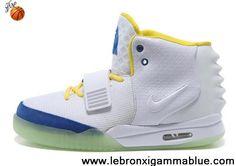 Buy Cheap Nike Air Yeezy II Men Shoes White Blue Sports Shoes Store