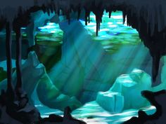 I've been wanting to paint this since i came back from Mexico.  #Mexico #cenote #diving #drawing #illustration #digital #painting #background #environment #underwater #fantasy #beautiful #light #cavern #cave #rocks #stone #blue