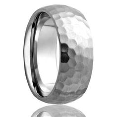TRINIDAD Domed Cobalt Band with Satin Hammered Finish | 6mm,7mm & 8mm