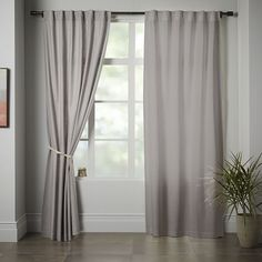 Linen Cotton Curtain + Blackout Lining - Platinum   west elm  Overlay for Master bedroom Blackout lining is optional
