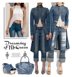 """""""Double Down on Denim"""" by yours-styling-best-friend ❤ liked on Polyvore featuring Alexander McQueen, denim, BloggerStyle and Denimondenim"""