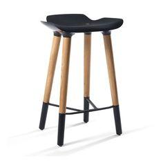 Pluto Danish Modern Counter Stool with Black Seat