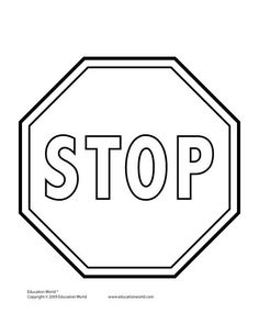 Stop Sign Printable Coloring Pages Therapy Activities, Preschool Activities, Bus Safety, People Who Help Us, Community Helpers Preschool, Education World, Transportation Theme, Sign Templates, Teacher Tools