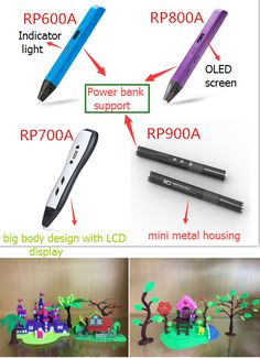 Compared with the 3D pen in the market, our 3D pen have unique advantages as below:  1. Compatible with 1.75mm ABS or PLA 2. Can supported by 5V 2A power bank 3. USB cable connected 4. Double click allow automatically loading/unloading filament 5. Slim design, light body with OLED display  Ok, if you are not interested in RP800A, we still have RP600A, RP700A, RP900A(mini metal 3D pen) and 3D chocolate pen.  If you have further questions, please feel free to contact us.