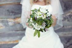 wedding bouquet purple green white