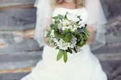 wedding bouquet purple green white