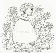 #whimsy365 day 159 Sunflowers are her joy. #illustration #whimsychicks…