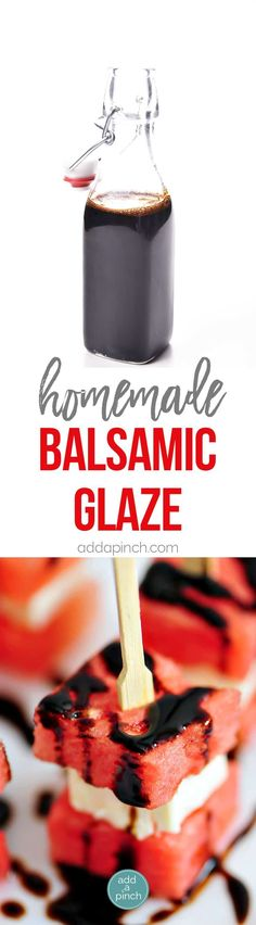 Homemade Balsamic Glaze Recipe - Balsamic glaze is so simple to make at home with just two ingredients! Delicious on so many dishes! // addapinch.com