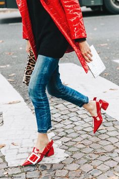 Red patent block heels with buckle