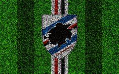Download wallpapers Sampdoria FC, 4k, logo, football lawn, Italian football club, white blue lines, UC Sampdoria emblem, grass texture, Serie A, Genoa, Italy, football