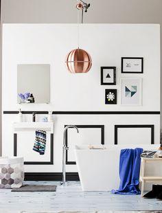 cobalt, copper, black & white bathroom
