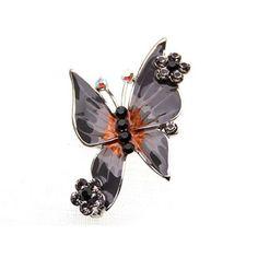 Jet Black Enamel Body Crystal Rhinestone Studded Outline Butterfly Brooch Pin #diamondbrooch