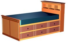Kids Bedrooms - build each a platform bed for twin mattress 3' from floor with storage underneath (shelves and/or hanging bar for clothes), no headboard as pictured - could put book shelves on wall if needed.