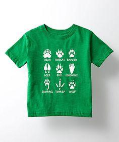 Kelly Green Animal Tracks Crewneck Tee - Toddler & Kids
