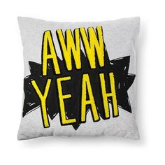 """Aww Yeah Throw Pillow (18""""x18"""") Yellow & Black - Pillowfort™ : Target (€16) ❤ liked on Polyvore featuring home, home decor, throw pillows, black home accessories, yellow accent pillows, black toss pillows, target throw pillows and black home decor"""