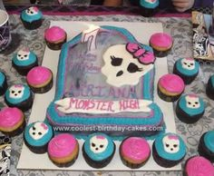 Homemade Monster High Cake: I made this Homemade Monster High Cake for my cousin's 7th birthday party. I used the over the hill (Wilton) cake pan. I covered the words over the hill