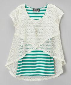 Look what I found on #zulily! White & Emerald Stripe Layered Tank - Girls #zulilyfinds
