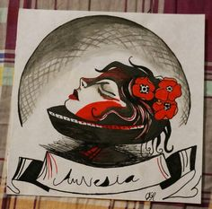 Cabeza, flores, dibujo